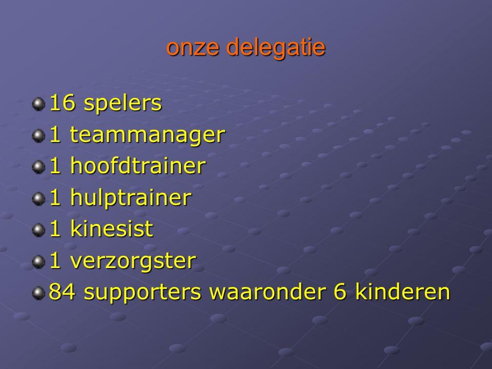 onze delegatie 16 spelers 1 teammanager 1 hoofdtrainer 1 hulptrainer 1 kinesist 1 verzorgster 84 supporters waaronder 6 kinderen