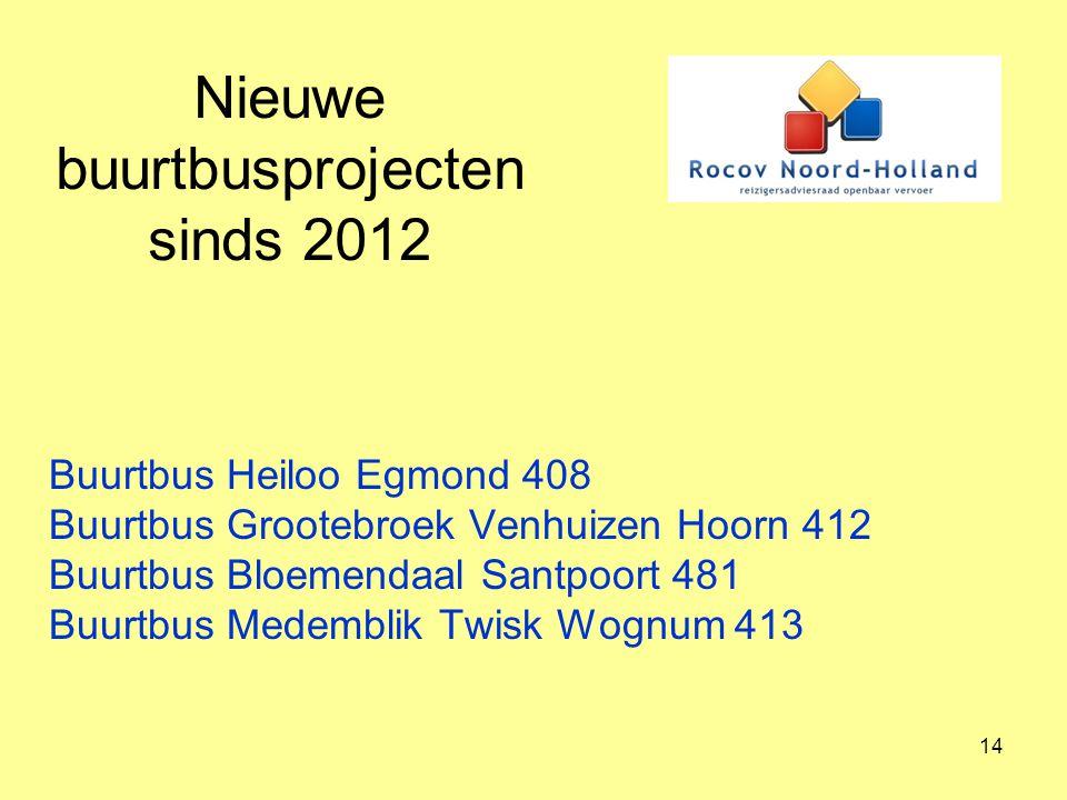 14 Nieuwe buurtbusprojecten sinds 2012 Buurtbus Heiloo Egmond 408 Buurtbus Grootebroek Venhuizen Hoorn 412 Buurtbus Bloemendaal Santpoort 481 Buurtbus