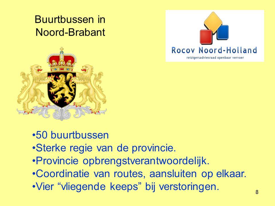 8 Buurtbussen in Noord-Brabant 50 buurtbussen Sterke regie van de provincie. Provincie opbrengstverantwoordelijk. Coordinatie van routes, aansluiten o