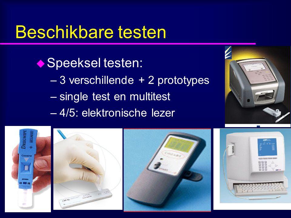 Beschikbare testen u Speeksel testen: –3 verschillende + 2 prototypes –single test en multitest –4/5: elektronische lezer