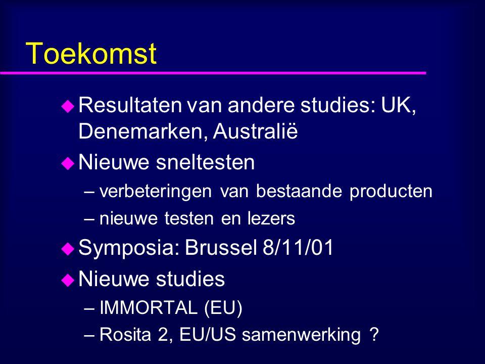 Toekomst u Resultaten van andere studies: UK, Denemarken, Australië u Nieuwe sneltesten –verbeteringen van bestaande producten –nieuwe testen en lezers u Symposia: Brussel 8/11/01 u Nieuwe studies –IMMORTAL (EU) –Rosita 2, EU/US samenwerking ?