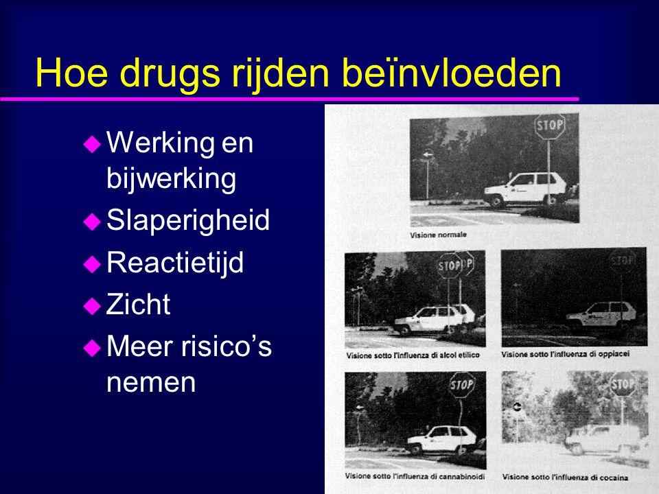 Hoe drugs rijden beïnvloeden u Werking en bijwerking u Slaperigheid u Reactietijd u Zicht u Meer risico's nemen