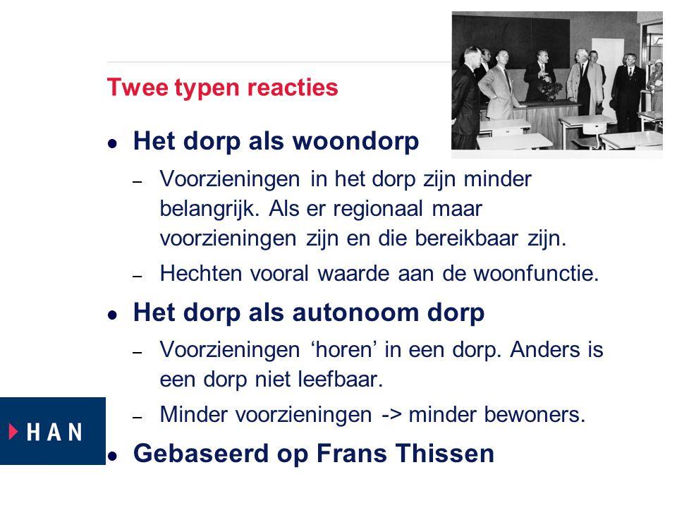 Twee typen reacties Het dorp als woondorp – Voorzieningen in het dorp zijn minder belangrijk.
