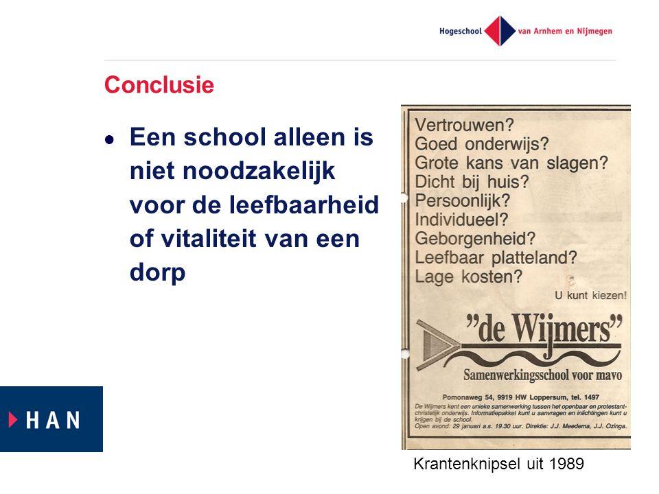 Conclusie Een school alleen is niet noodzakelijk voor de leefbaarheid of vitaliteit van een dorp Krantenknipsel uit 1989