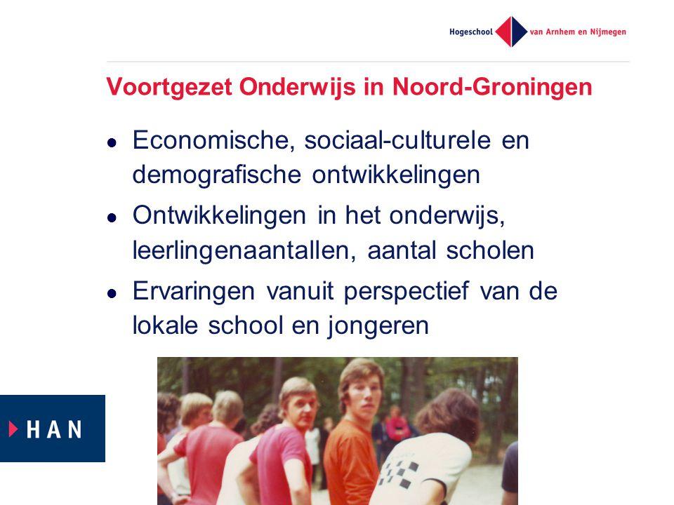 Voortgezet Onderwijs in Noord-Groningen Economische, sociaal-culturele en demografische ontwikkelingen Ontwikkelingen in het onderwijs, leerlingenaantallen, aantal scholen Ervaringen vanuit perspectief van de lokale school en jongeren