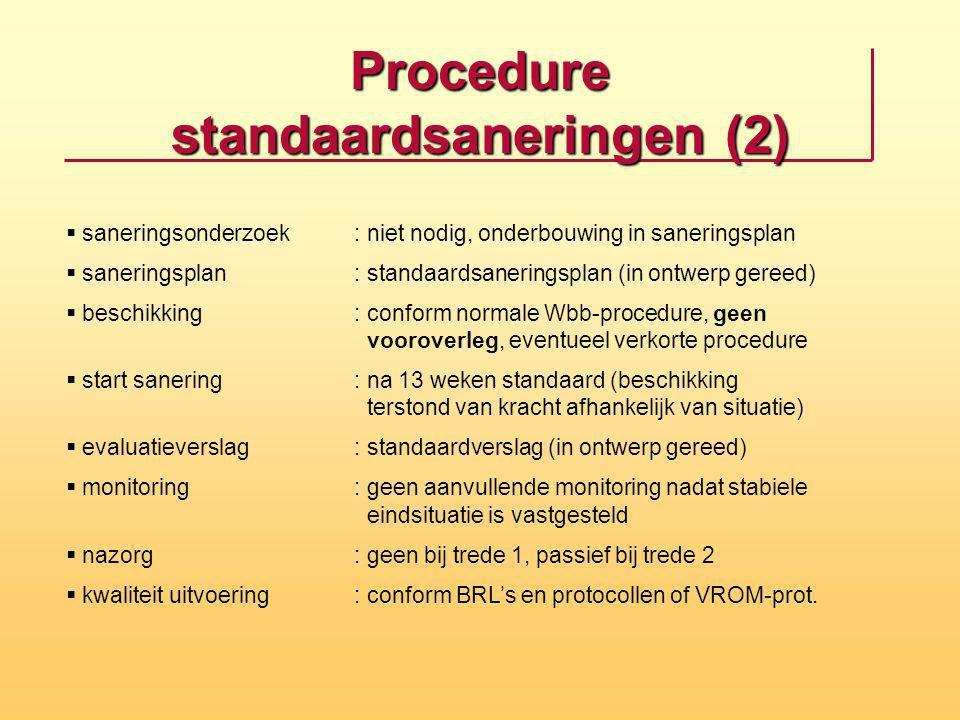 Procedure standaardsaneringen (2)  saneringsonderzoek: niet nodig, onderbouwing in saneringsplan  saneringsplan: standaardsaneringsplan (in ontwerp