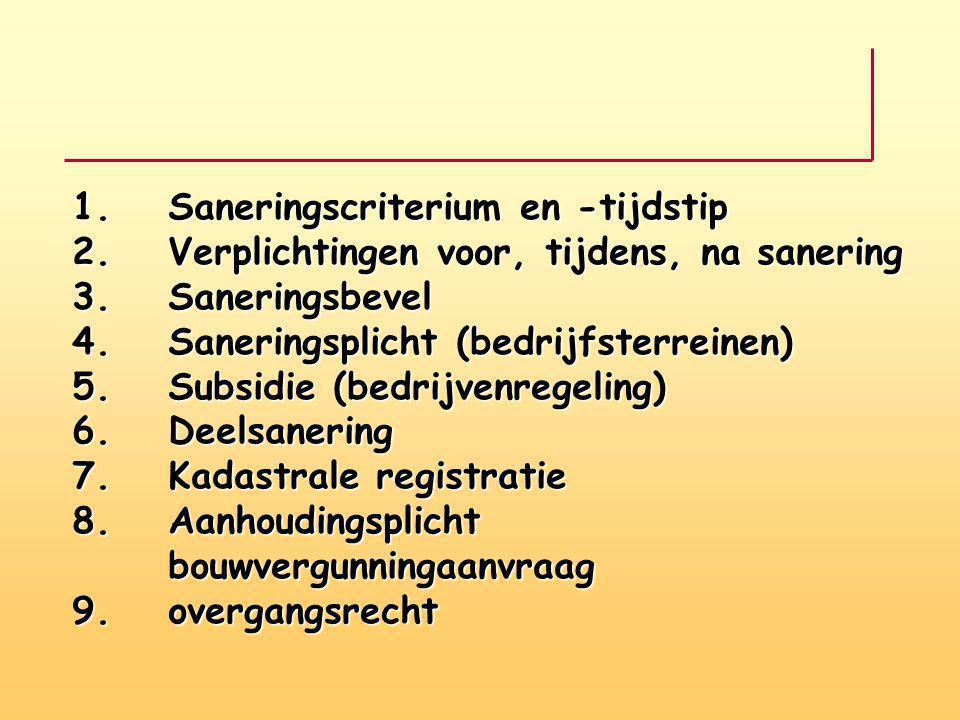 1. Saneringscriterium en -tijdstip 2. Verplichtingen voor, tijdens, na sanering 3.Saneringsbevel 4.Saneringsplicht (bedrijfsterreinen) 5.Subsidie (bed