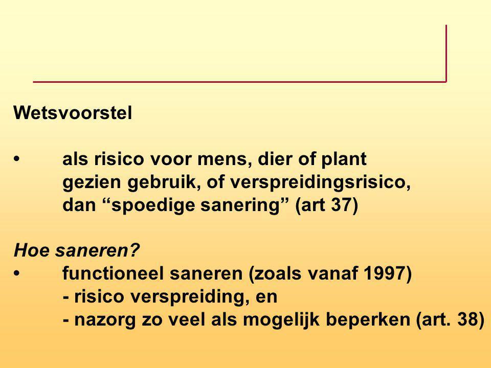 "Wetsvoorstelals risico voor mens, dier of plant gezien gebruik, of verspreidingsrisico, dan ""spoedige sanering"" (art 37) Hoe saneren?functioneel saner"