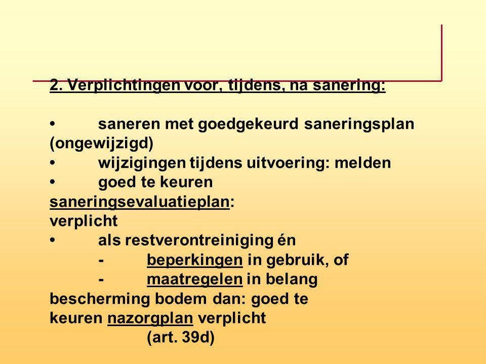 2. Verplichtingen voor, tijdens, na sanering: saneren met goedgekeurd saneringsplan (ongewijzigd) wijzigingen tijdens uitvoering: melden goed te keure