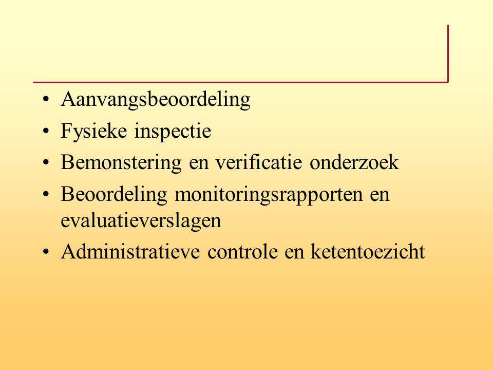 Aanvangsbeoordeling Fysieke inspectie Bemonstering en verificatie onderzoek Beoordeling monitoringsrapporten en evaluatieverslagen Administratieve con