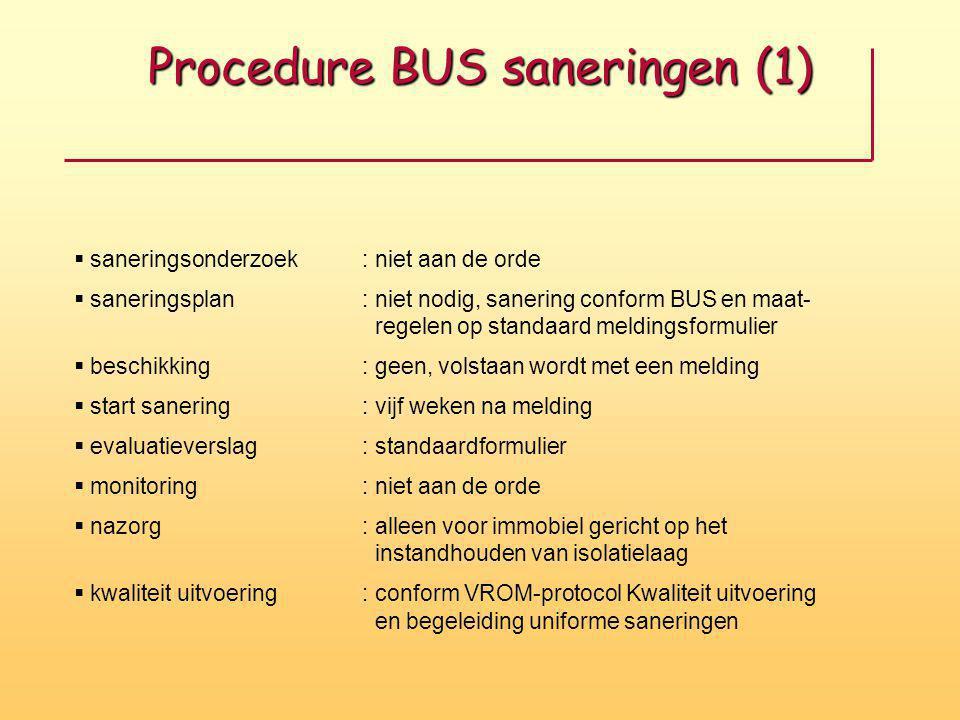 Procedure BUS saneringen (1)  saneringsonderzoek: niet aan de orde  saneringsplan: niet nodig, sanering conform BUS en maat- regelen op standaard me