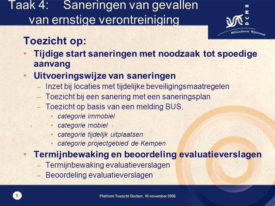 Platform Toezicht Bodem, 16 november 2006 9 Taak 4:Saneringen van gevallen van ernstige verontreiniging Toezicht op: Tijdige start saneringen met noodzaak tot spoedige aanvang Uitvoeringswijze van saneringen – Inzet bij locaties met tijdelijke beveiligingsmaatregelen – Toezicht bij een sanering met een saneringsplan – Toezicht op basis van een melding BUS.