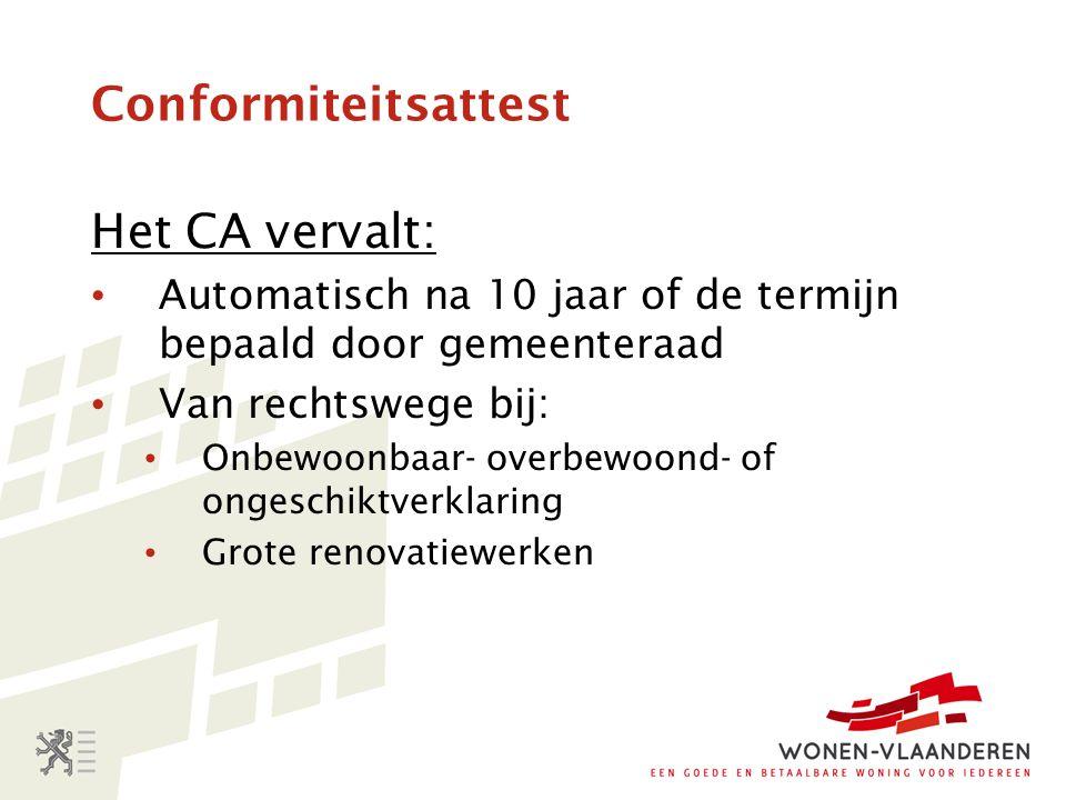 Het CA vervalt: Automatisch na 10 jaar of de termijn bepaald door gemeenteraad Van rechtswege bij: Onbewoonbaar- overbewoond- of ongeschiktverklaring