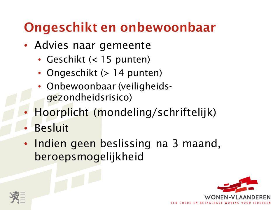 Ongeschikt en onbewoonbaar Advies naar gemeente Geschikt (< 15 punten) Ongeschikt (> 14 punten) Onbewoonbaar (veiligheids- gezondheidsrisico) Hoorplic