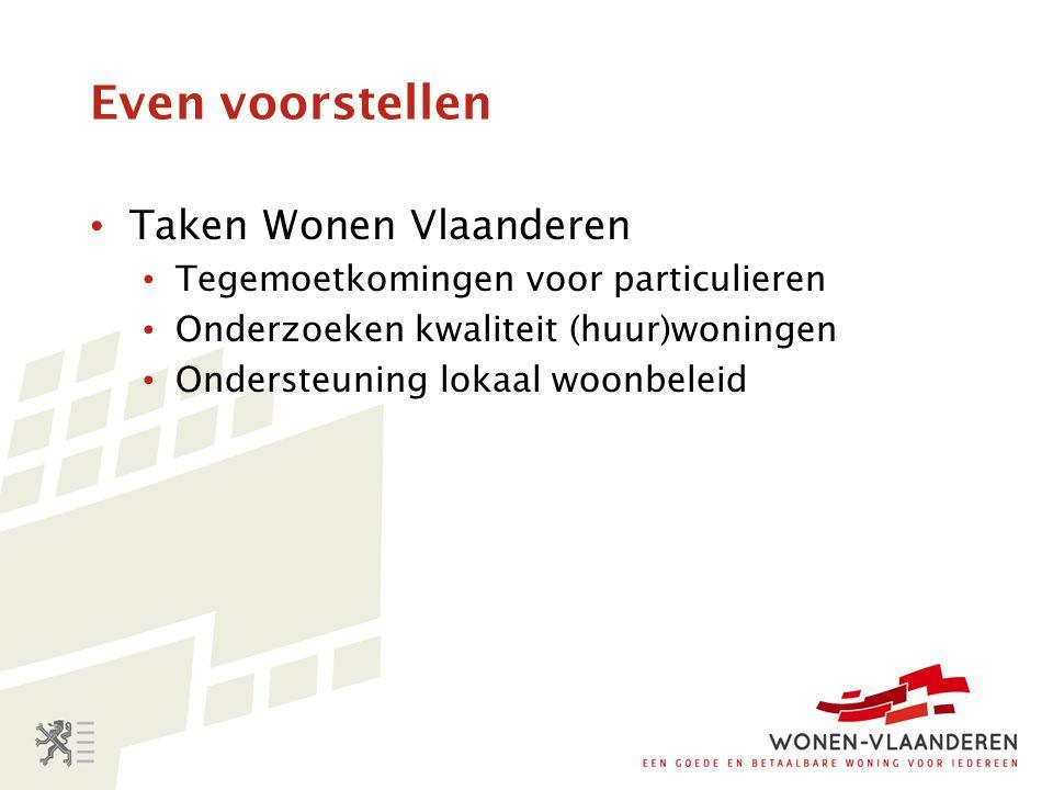 Even voorstellen Taken Wonen Vlaanderen Tegemoetkomingen voor particulieren Onderzoeken kwaliteit (huur)woningen Ondersteuning lokaal woonbeleid
