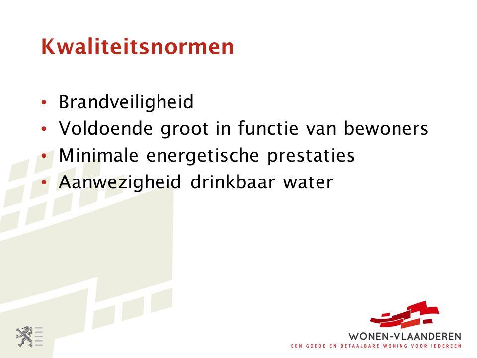 Kwaliteitsnormen Brandveiligheid Voldoende groot in functie van bewoners Minimale energetische prestaties Aanwezigheid drinkbaar water