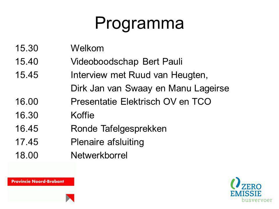 Programma 15.30Welkom 15.40Videoboodschap Bert Pauli 15.45Interview met Ruud van Heugten, Dirk Jan van Swaay en Manu Lageirse 16.00Presentatie Elektri