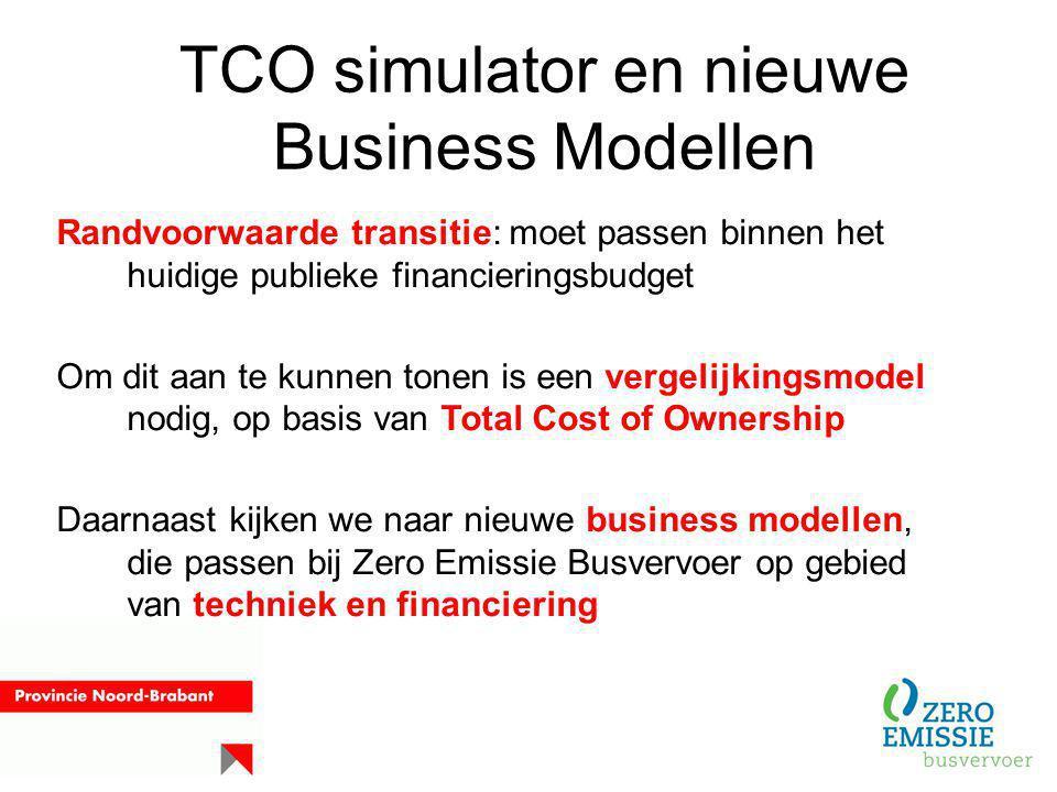 TCO simulator en nieuwe Business Modellen Randvoorwaarde transitie: moet passen binnen het huidige publieke financieringsbudget Om dit aan te kunnen t