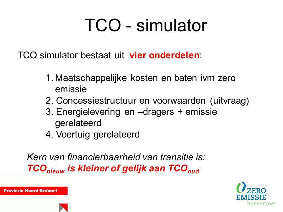 TCO - simulator TCO simulator bestaat uit vier onderdelen: 1.Maatschappelijke kosten en baten ivm zero emissie 2. Concessiestructuur en voorwaarden (u