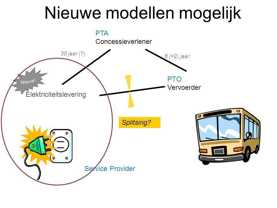 Nieuwe modellen mogelijk PTA Concessieverlener PTO Vervoerder Elektriciteitslevering Splitsing? 30 jaar (?) 8 (+2) jaar Nieuw! Service Provider