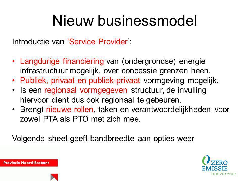 Nieuw businessmodel Introductie van 'Service Provider': Langdurige financiering van (ondergrondse) energie infrastructuur mogelijk, over concessie gre
