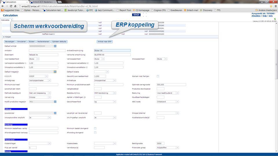 ERP koppeling Scherm werkvoorbereiding