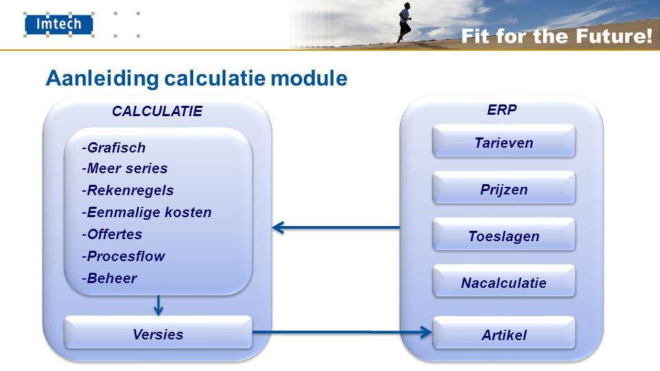 Aanleiding calculatie module CALCULATIE -Grafisch -Meer series -Rekenregels -Eenmalige kosten -Offertes -Procesflow -Beheer -Grafisch -Meer series -Rekenregels -Eenmalige kosten -Offertes -Procesflow -Beheer Versies ERP Tarieven Prijzen Toeslagen Nacalculatie Artikel