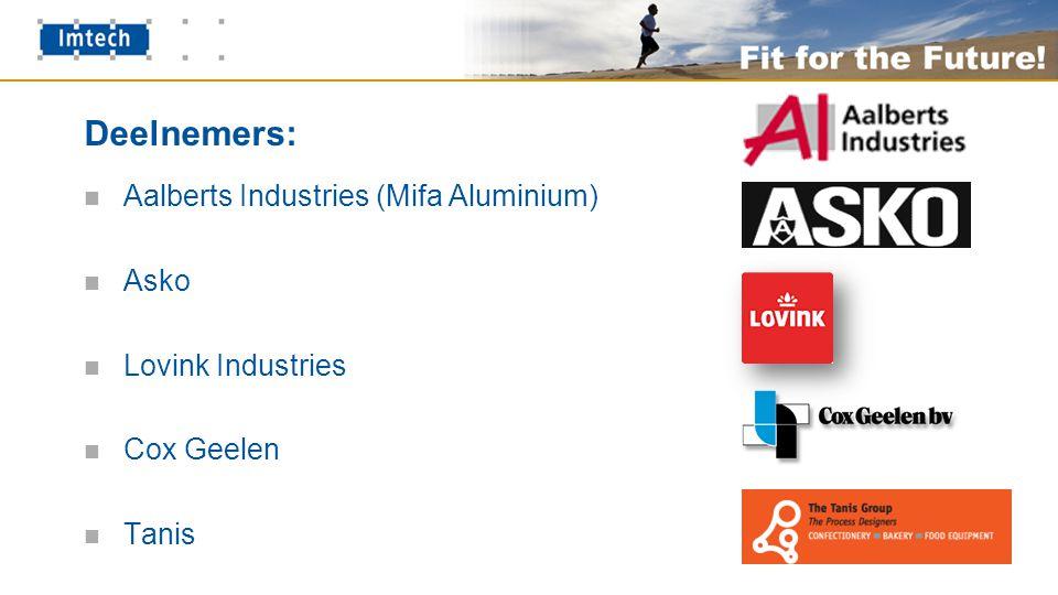Deelnemers: Aalberts Industries (Mifa Aluminium) Asko Lovink Industries Cox Geelen Tanis