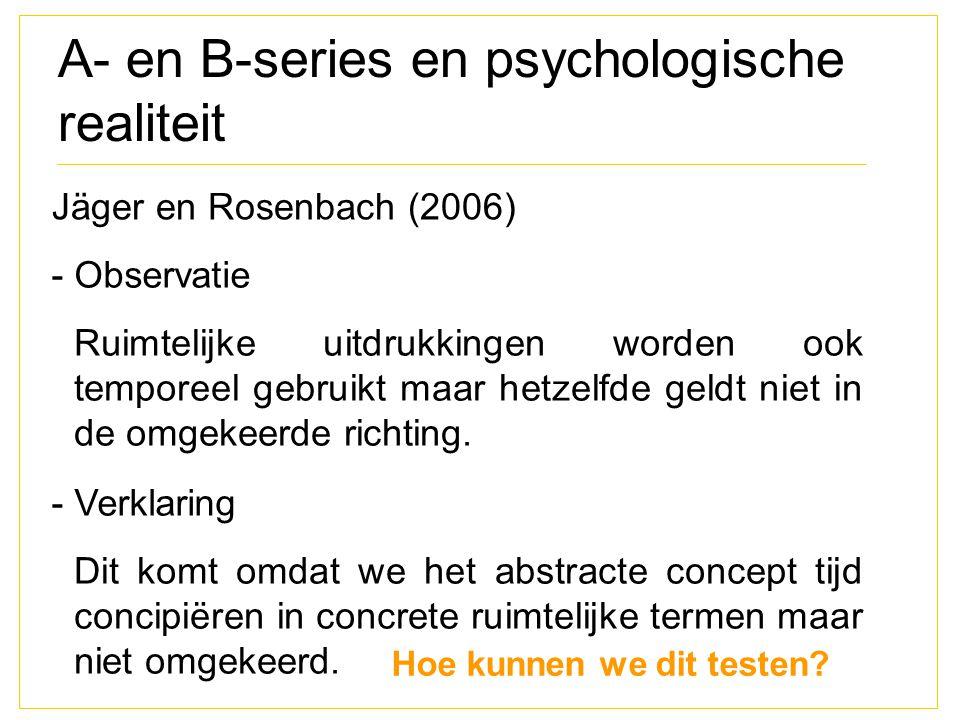 A- en B-series en psychologische realiteit Jäger en Rosenbach (2006) - Observatie Ruimtelijke uitdrukkingen worden ook temporeel gebruikt maar hetzelf
