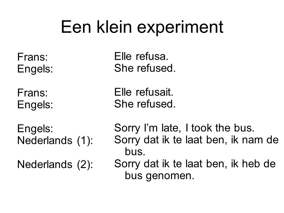 Een klein experiment Frans: Engels: Frans: Engels: Nederlands (1): Nederlands (2): Elle refusa. She refused. Elle refusait. She refused. Sorry I'm lat