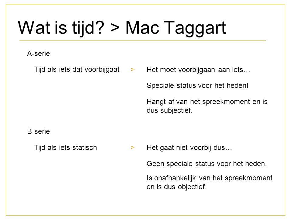 Wat is tijd? > Mac Taggart A-serie Tijd als iets dat voorbijgaat >Het moet voorbijgaan aan iets… B-serie Tijd als iets statisch >Het gaat niet voorbij