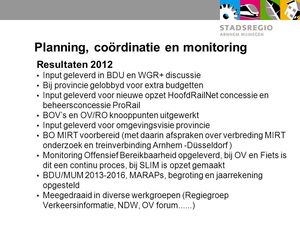 Planning, coördinatie en monitoring Resultaten 2012 Input geleverd in BDU en WGR+ discussie Bij provincie gelobbyd voor extra budgetten Input geleverd voor nieuwe opzet HoofdRailNet concessie en beheersconcessie ProRail BOV's en OV/RO knooppunten uitgewerkt Input geleverd voor omgevingsvisie provincie BO MIRT voorbereid (met daarin afspraken over verbreding MIRT onderzoek en treinverbinding Arnhem -Düsseldorf ) Monitoring Offensief Bereikbaarheid opgeleverd, bij OV en Fiets is dit een continu proces, bij SLIM is opzet gemaakt BDU/MUM 2013-2016, MARAPs, begroting en jaarrekening opgesteld Meegedraaid in diverse werkgroepen (Regiegroep Verkeersinformatie, NDW, OV forum......)