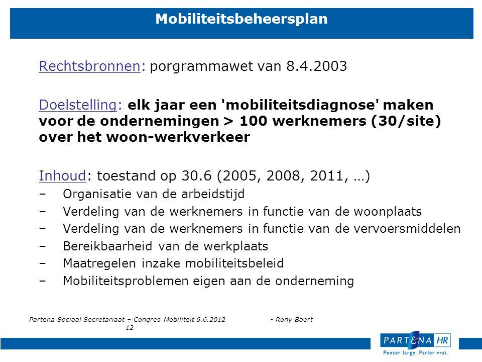 Partena Sociaal Secretariaat – Congres Mobiliteit 6.6.2012- Rony Baert 12 Mobiliteitsbeheersplan Rechtsbronnen: porgrammawet van 8.4.2003 Doelstelling