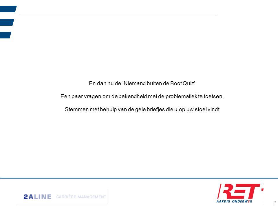 8 Vraag 1: Hoe hoog was het ziekteverzuimpercentage in 2010 in Nederland ? 3,4% 5,1% 4,4%