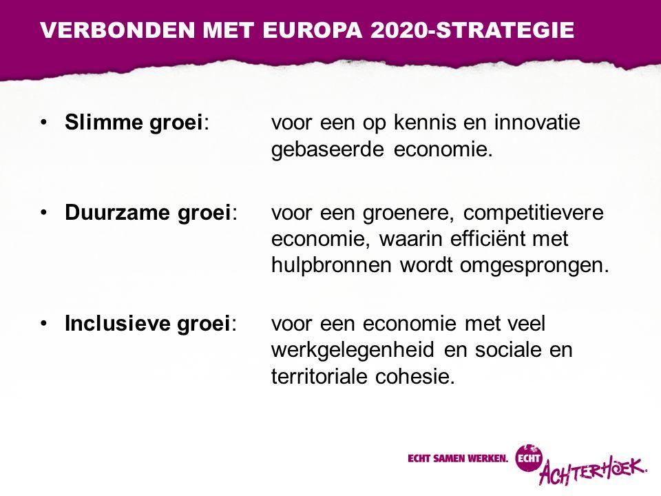 VERBONDEN MET EUROPA 2020-STRATEGIE Slimme groei: voor een op kennis en innovatie gebaseerde economie. Duurzame groei: voor een groenere, competitieve