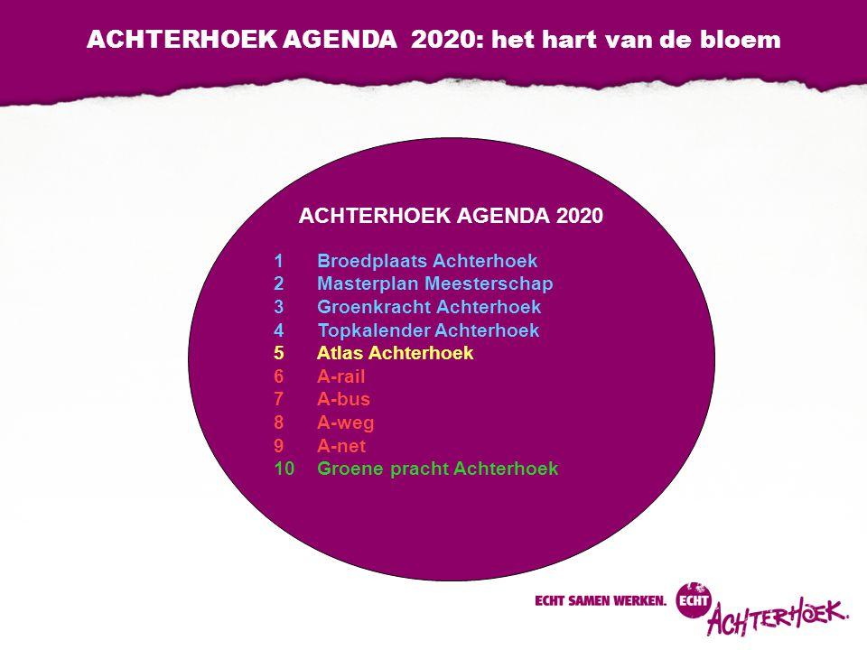 ACHTERHOEK AGENDA 2020: het hart van de bloem ACHTERHOEK AGENDA 2020 1Broedplaats Achterhoek 2Masterplan Meesterschap 3Groenkracht Achterhoek 4Topkalender Achterhoek 5Atlas Achterhoek 6A-rail 7A-bus 8A-weg 9A-net 10Groene pracht Achterhoek