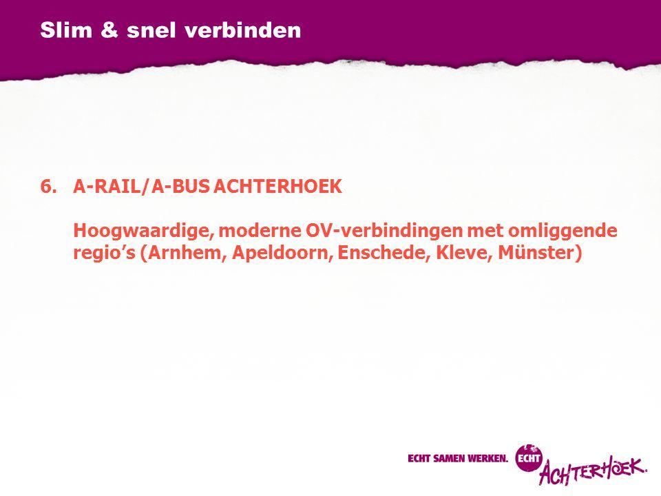 Slim & snel verbinden 6.A-RAIL/A-BUS ACHTERHOEK Hoogwaardige, moderne OV-verbindingen met omliggende regio's (Arnhem, Apeldoorn, Enschede, Kleve, Müns