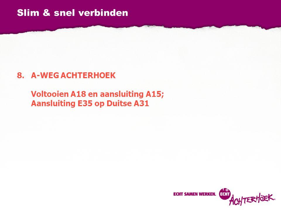 Slim & snel verbinden 8.A-WEG ACHTERHOEK Voltooien A18 en aansluiting A15; Aansluiting E35 op Duitse A31