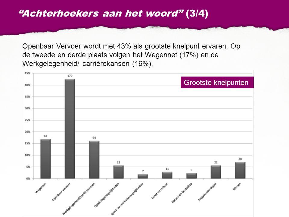 """""""Achterhoekers aan het woord"""" (3/4) Openbaar Vervoer wordt met 43% als grootste knelpunt ervaren. Op de tweede en derde plaats volgen het Wegennet (17"""