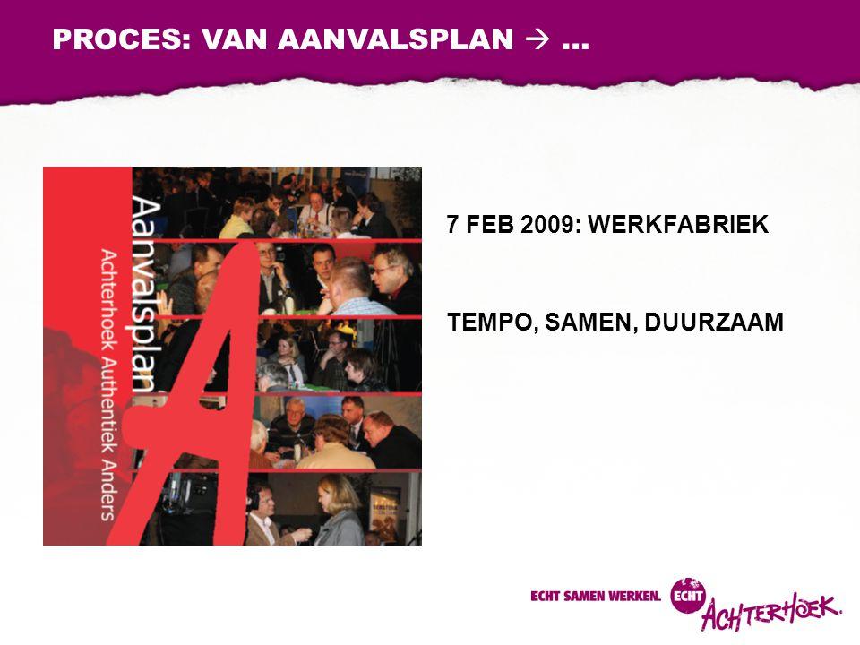 7 FEB 2009: WERKFABRIEK TEMPO, SAMEN, DUURZAAM PROCES: VAN AANVALSPLAN  …