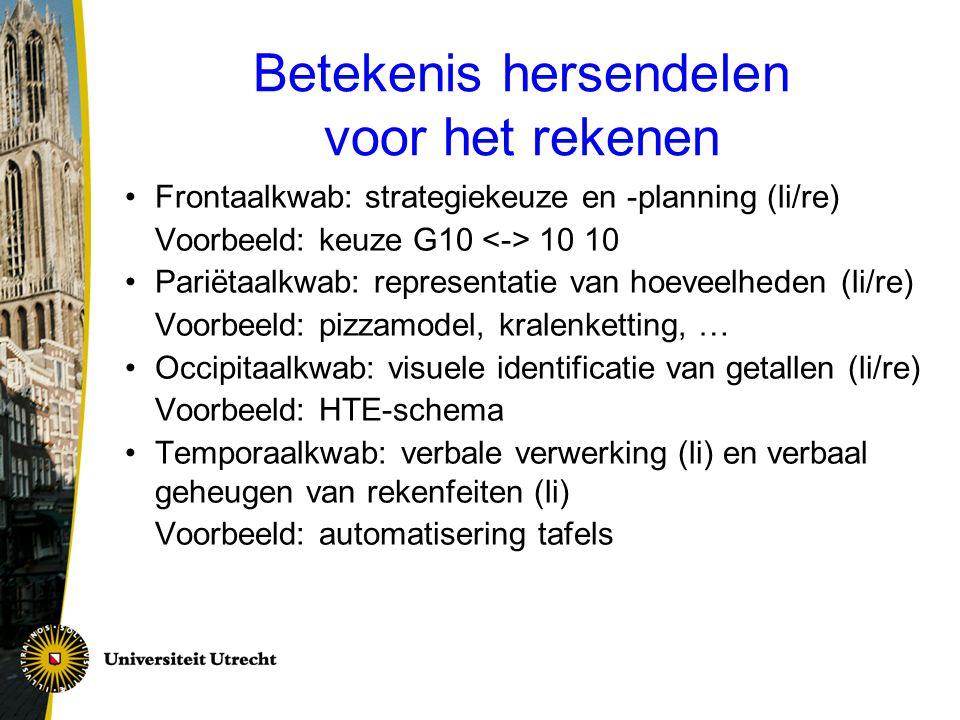 Betekenis hersendelen voor het rekenen Frontaalkwab: strategiekeuze en -planning (li/re) Voorbeeld: keuze G10 10 10 Pariëtaalkwab: representatie van h