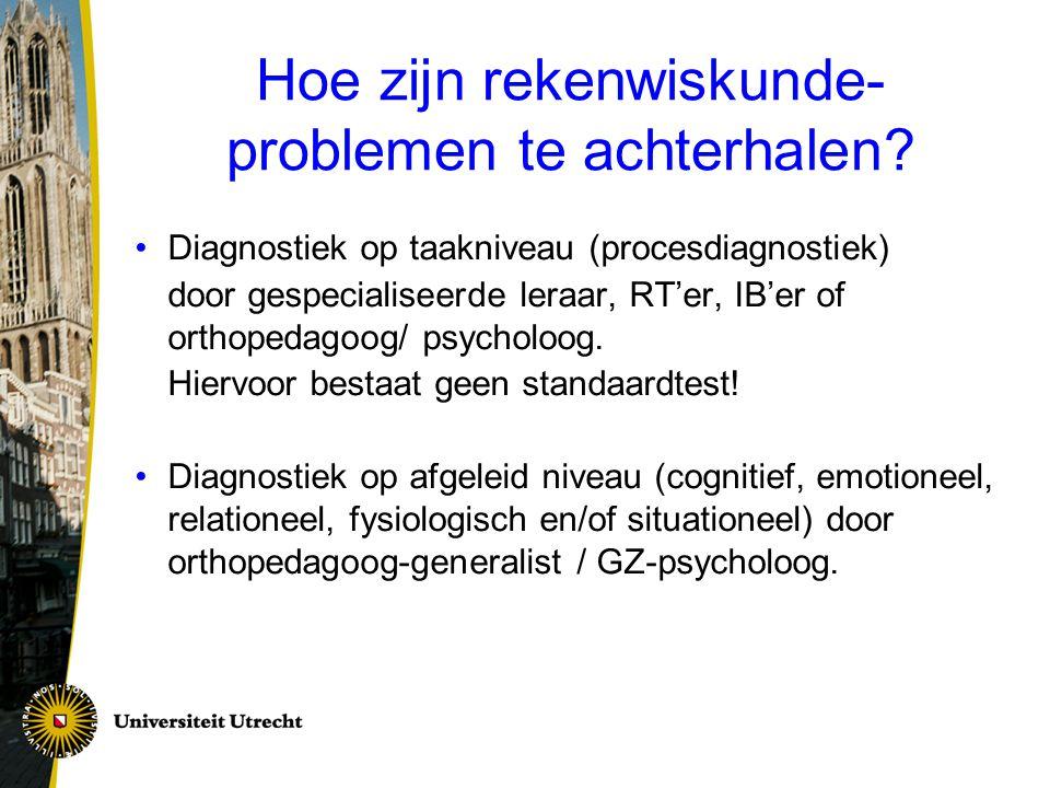 Hoe zijn rekenwiskunde- problemen te achterhalen? Diagnostiek op taakniveau (procesdiagnostiek) door gespecialiseerde leraar, RT'er, IB'er of orthoped