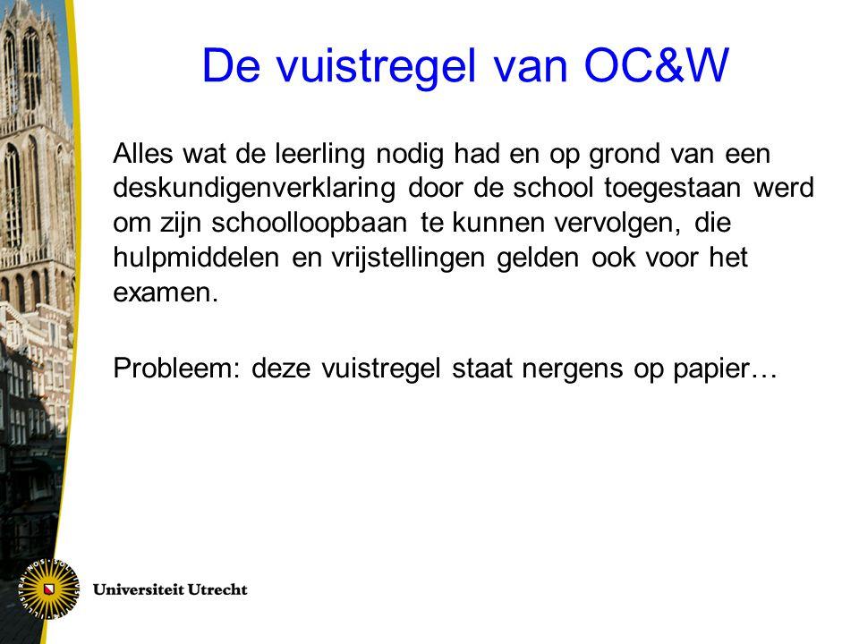 De vuistregel van OC&W Alles wat de leerling nodig had en op grond van een deskundigenverklaring door de school toegestaan werd om zijn schoolloopbaan