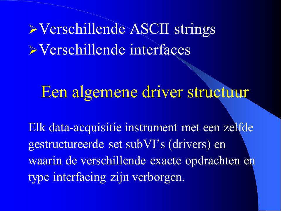  Verschillende ASCII strings  Verschillende interfaces Een algemene driver structuur Elk data-acquisitie instrument met een zelfde gestructureerde set subVI's (drivers) en waarin de verschillende exacte opdrachten en type interfacing zijn verborgen.
