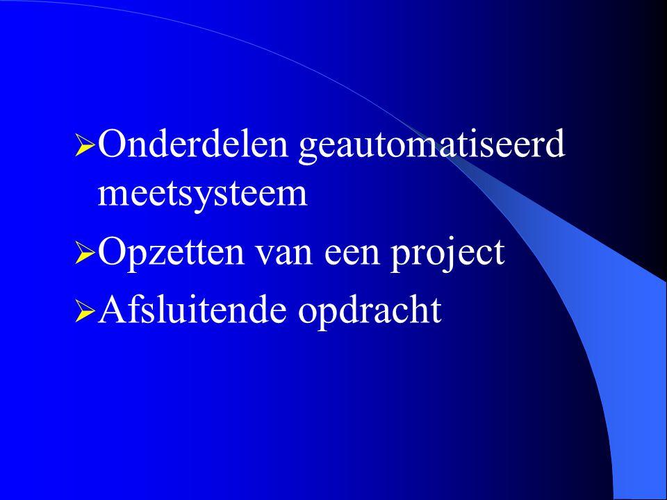  Onderdelen geautomatiseerd meetsysteem  Opzetten van een project  Afsluitende opdracht