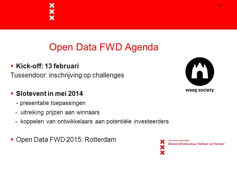 11 Open Data FWD Agenda  Kick-off: 13 februari Tussendoor: inschrijving op challenges  Slotevent in mei 2014 - presentatie toepassingen - uitreiking