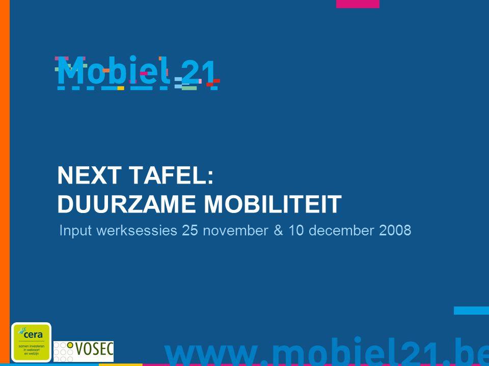 NEXT TAFEL: DUURZAME MOBILITEIT Input werksessies 25 november & 10 december 2008