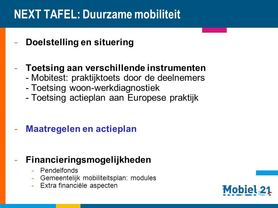 NEXT TAFEL: Duurzame mobiliteit -Doelstelling en situering -Toetsing aan verschillende instrumenten - Mobitest: praktijktoets door de deelnemers - Toe