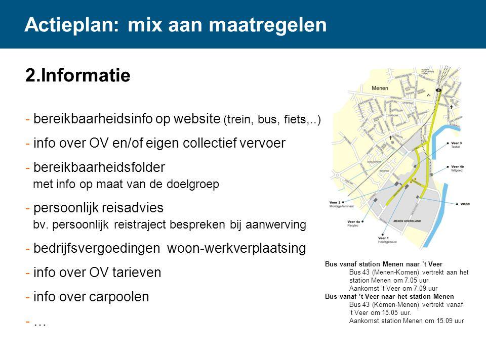 Actieplan: mix aan maatregelen 2.Informatie - bereikbaarheidsinfo op website (trein, bus, fiets,..) - info over OV en/of eigen collectief vervoer - be