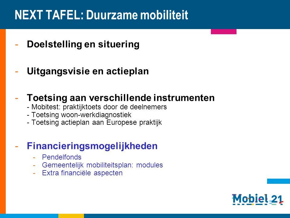 NEXT TAFEL: Duurzame mobiliteit -Doelstelling en situering -Uitgangsvisie en actieplan -Toetsing aan verschillende instrumenten - Mobitest: praktijkto